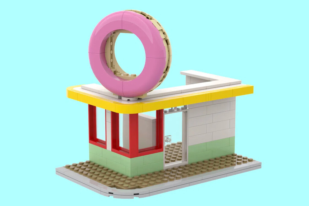 Kleines Diner mit Donut-3D-Schild
