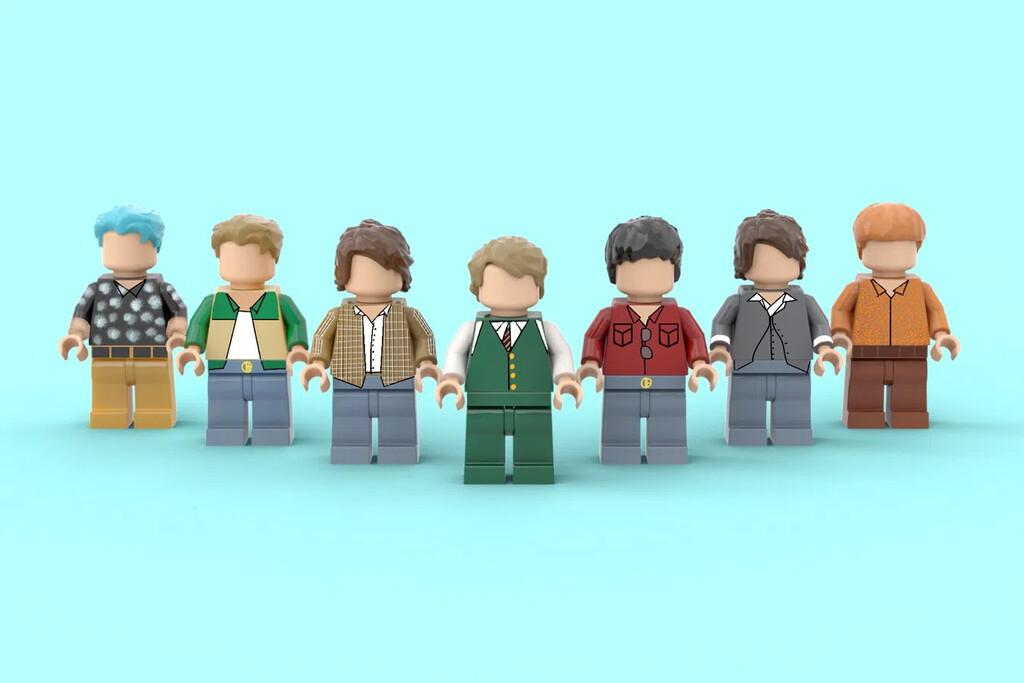 Sieben Bandmitglieder der Band BTS aus LEGO Figuren