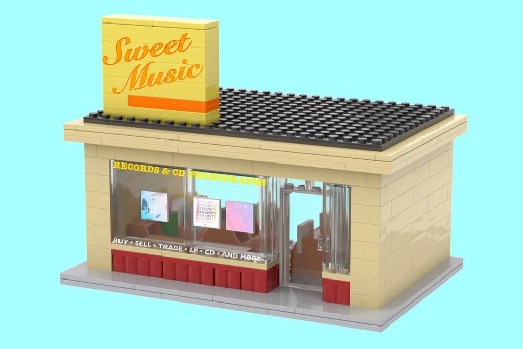 """LEGO Plattenladen von außen mit Schriftzug """"Sweet Music"""""""
