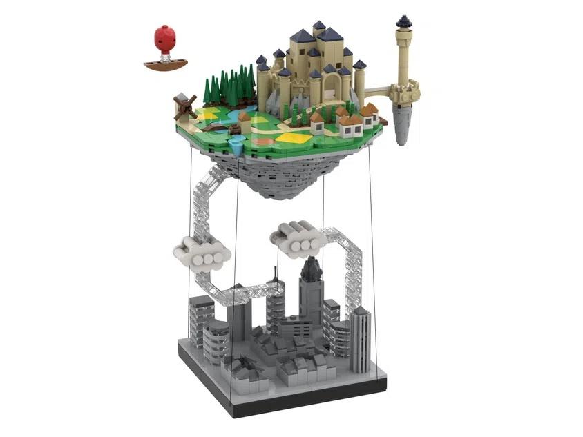 LEGO Ideas Floating Island (using Tensegrity)