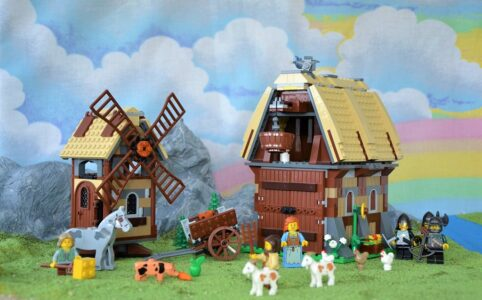 LEGO Kingdoms 7189 Überfall auf das Mühlendorf mit romantischem Bergblick